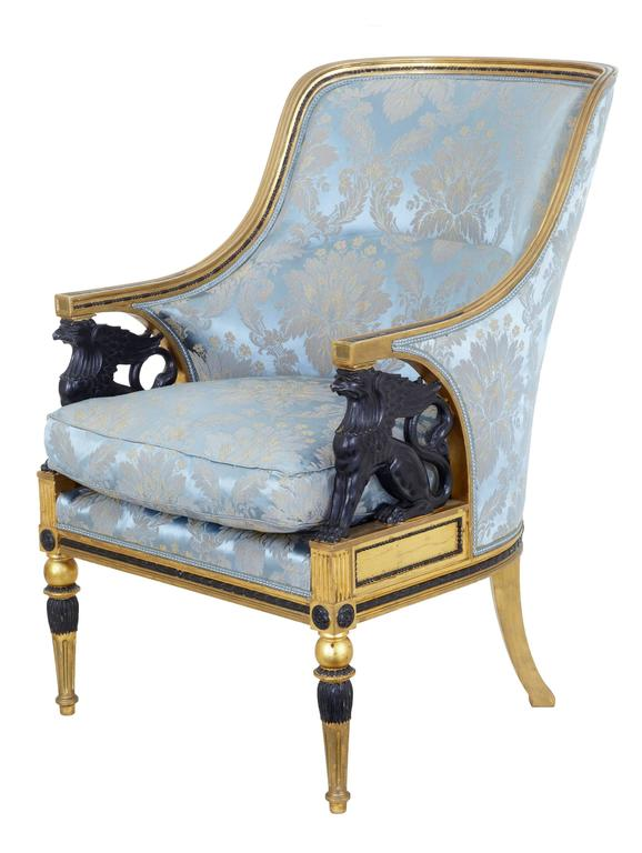 Carved Stunning 19th Century Swedish Gothenburg Gilt Armchair and Stool For Sale
