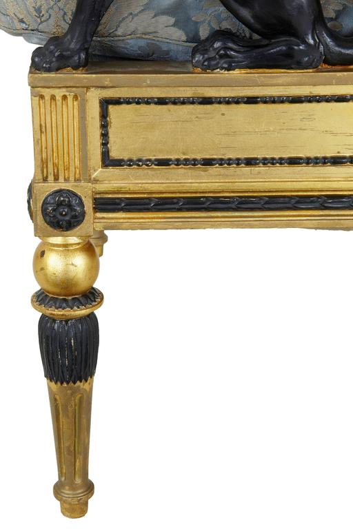 Giltwood Stunning 19th Century Swedish Gothenburg Gilt Armchair and Stool For Sale