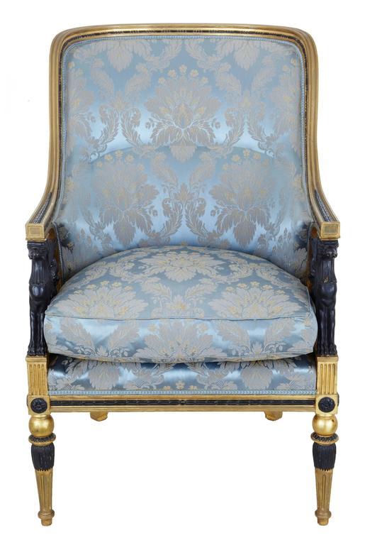 Stunning 19th Century Swedish Gothenburg Gilt Armchair and Stool For Sale 1