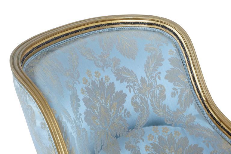 Stunning 19th Century Swedish Gothenburg Gilt Armchair and Stool For Sale 2