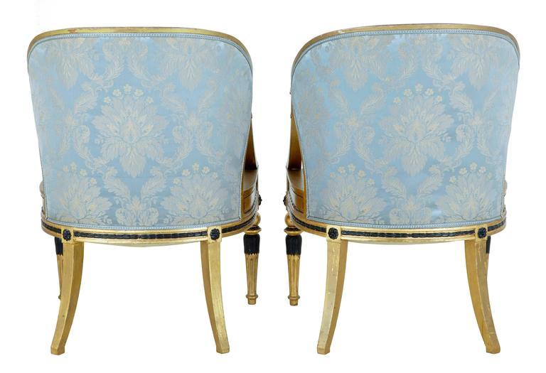 Baroque Pair of 19th Century Swedish Gothenburg Gilt Armchairs For Sale