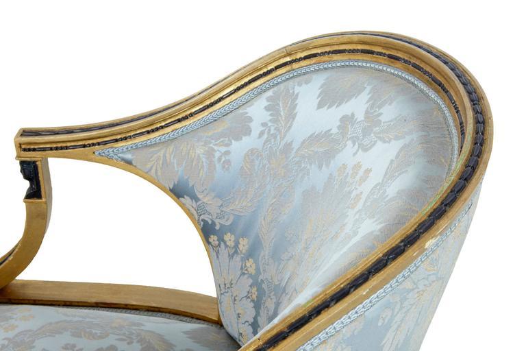 Pair of 19th Century Swedish Gothenburg Gilt Armchairs In Good Condition For Sale In Debenham, Suffolk