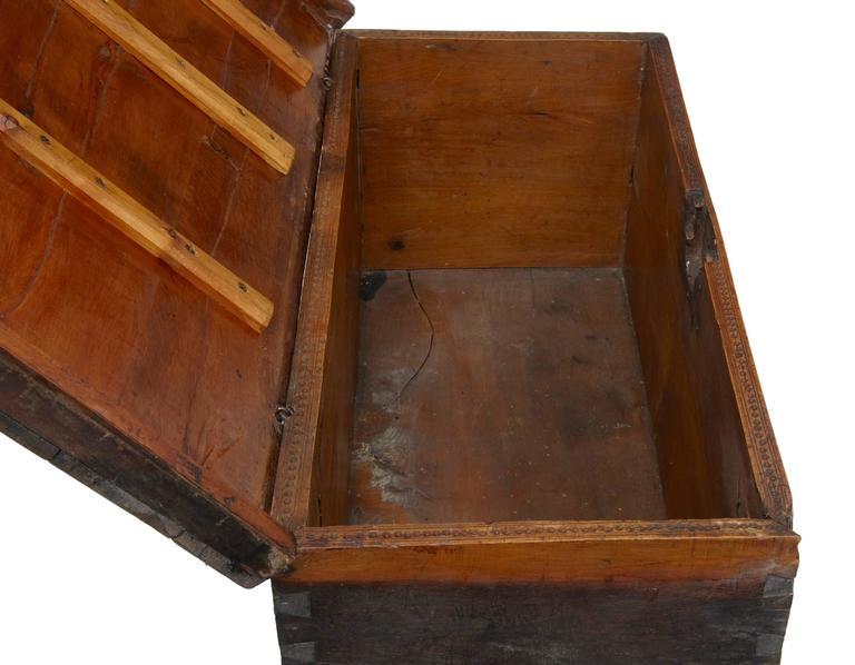 Early 18th Century Continental Fruitwood Marriage Chest Coffer In Fair Condition In Debenham, Suffolk