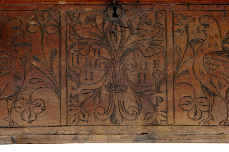 Walnut Early 18th Century Continental Fruitwood Marriage Chest Coffer