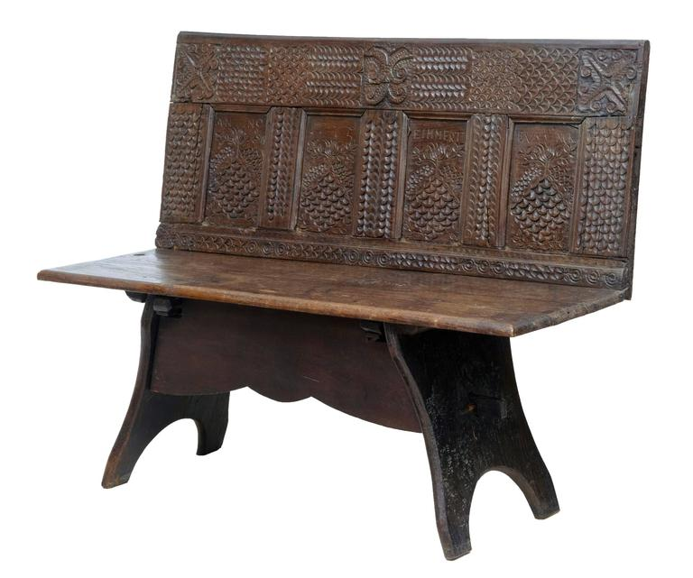 19th Century Victorian Carved Oak Bench 2