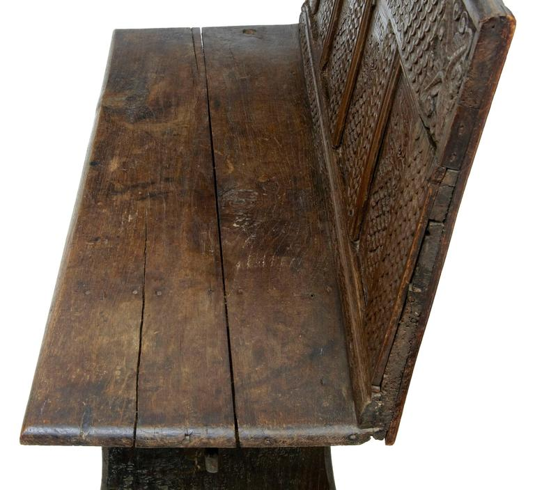 19th Century Victorian Carved Oak Bench 4