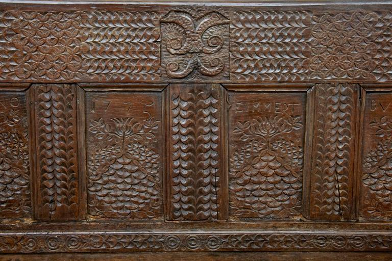 19th Century Victorian Carved Oak Bench 5