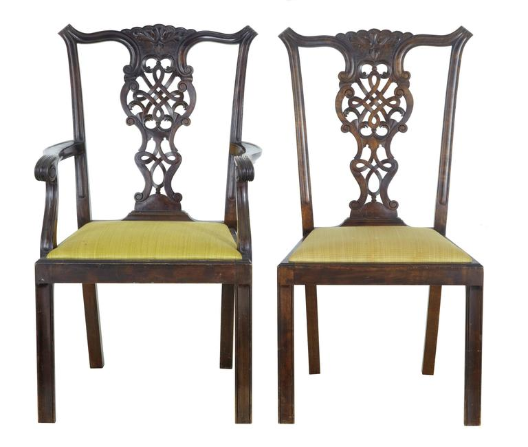Set of Swedish birch Chippendale inspired dining chairs, circa 1890.