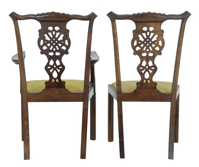 Set of Ten 19th Century Carved Swedish Birch Chippendale Design Dining Chairs In Good Condition For Sale In Debenham, Suffolk