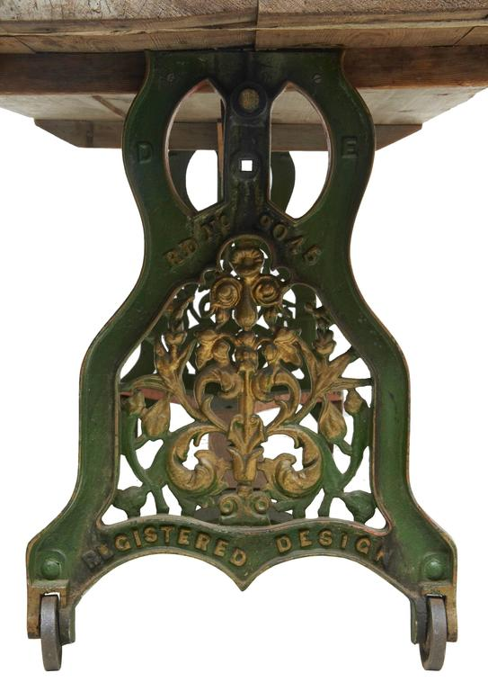 19th century iron base table with pine top for sale at 1stdibs for Th 37px60b table top stand