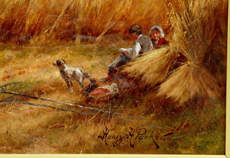 Compton, Surrey oil painting by Henry Hillier Parker.     Henry Hillier Parker was an accomplished late Victorian landscape artist who trained at St Martin and the Royal Academy school. He specialised in harvest scenes and this example is a fine