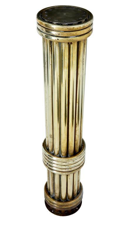 Victorian Unusual Architectural Brass Stand Column For Sale