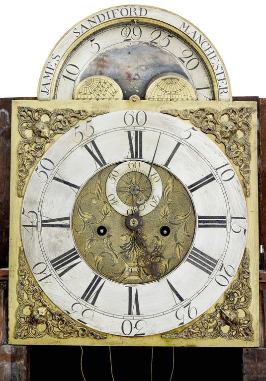 Eichen Standuhr James Sandiford aus Manchester, aus dem 18. Jahrhundert 5