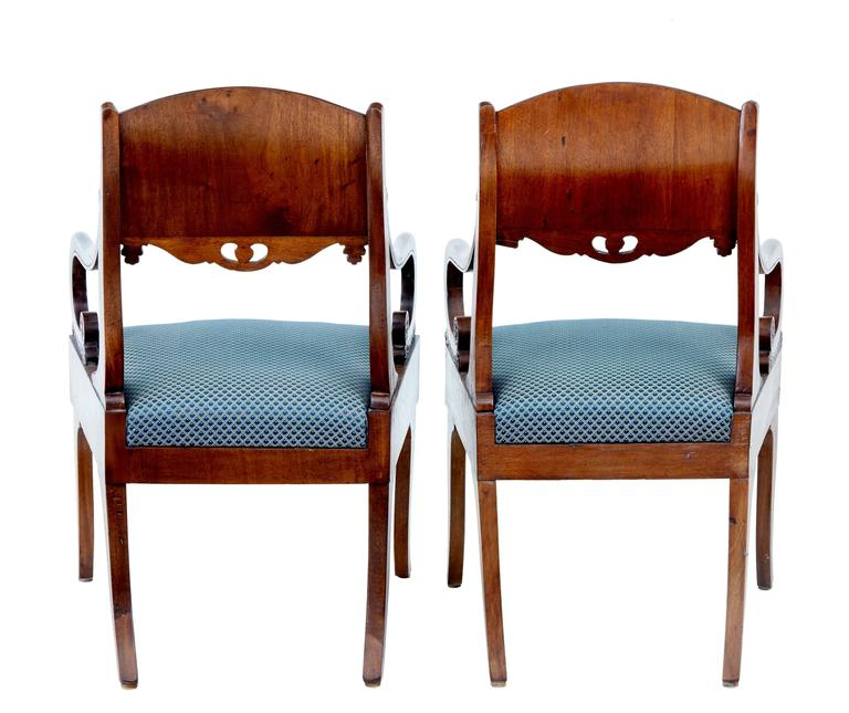 Victorian Pair of 19th Century Russian Mahogany Armchairs For Sale