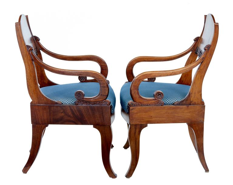 European Pair of 19th Century Russian Mahogany Armchairs For Sale