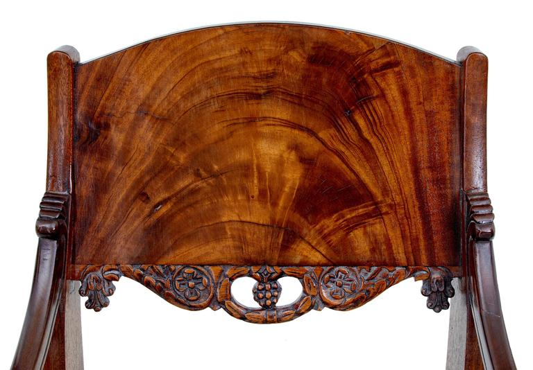 Carved Pair of 19th Century Russian Mahogany Armchairs