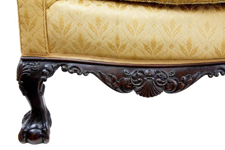 Early 20th Century Chippendale Revival Carved Mahogany Sofa For Sale 3