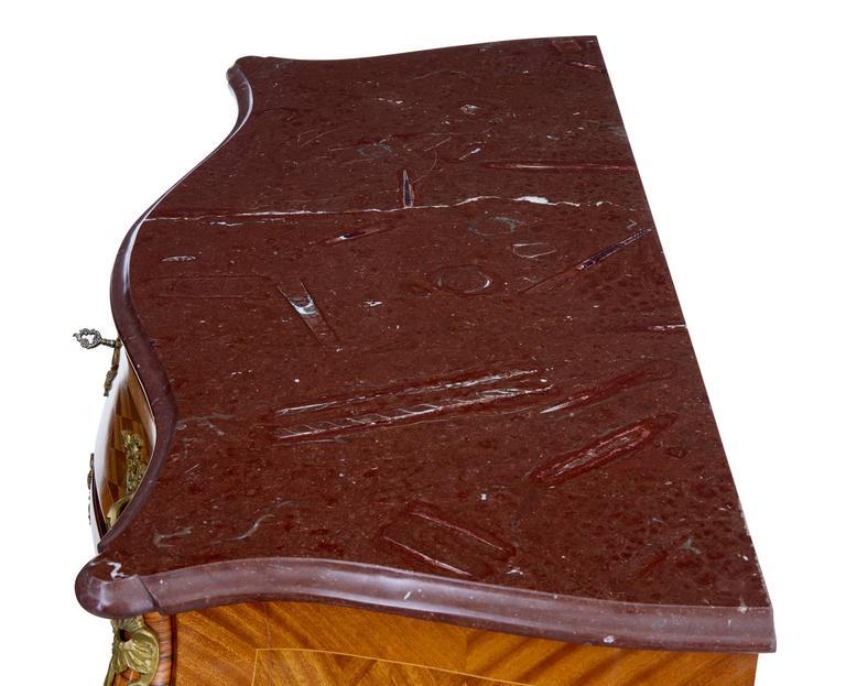 Inlay 1960s Scandinavian Mahogany Bombe Rococo Influenced Commode For Sale