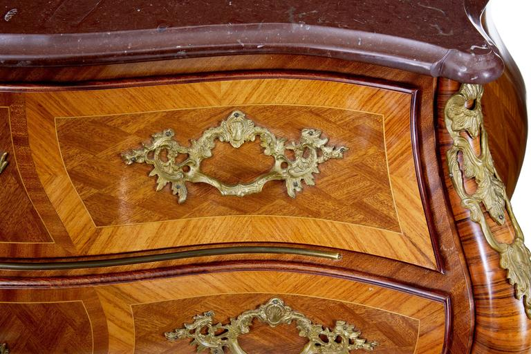 1960s Scandinavian Mahogany Bombe Rococo Influenced Commode In Good Condition For Sale In Debenham, Suffolk