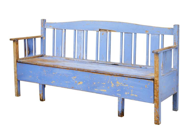 Traditional rustic Swedish bench, circa 1860.
