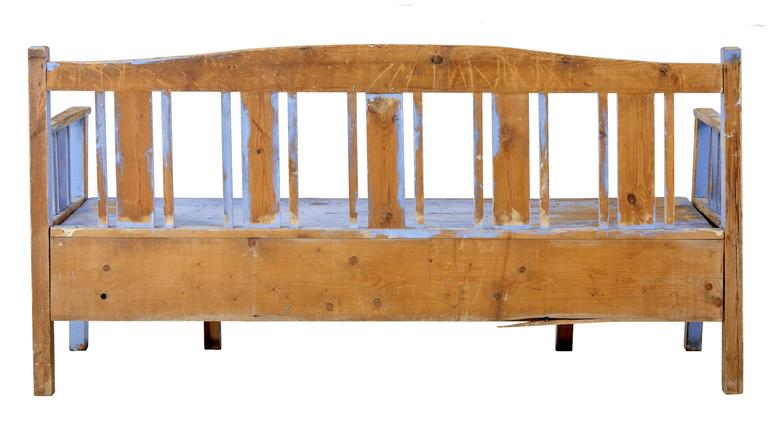 Swedish 19th Century, Scandinavian Painted Pine Bench For Sale