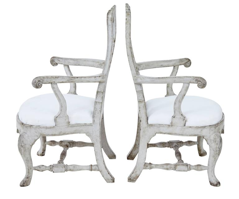 Fine quality pair of Gustavian inspired armchairs, circa 1860.