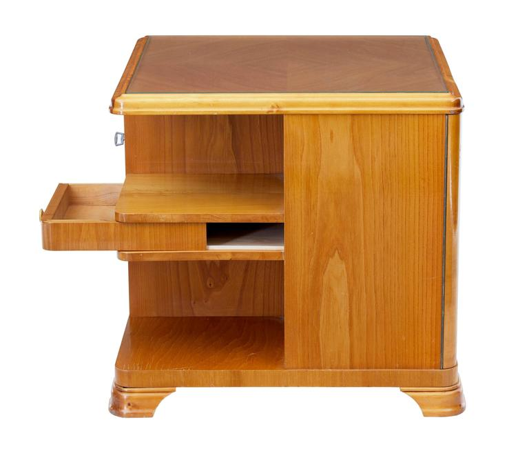Veneer Later Art Deco Swedish Elm Occasional Table Cabinet For Sale