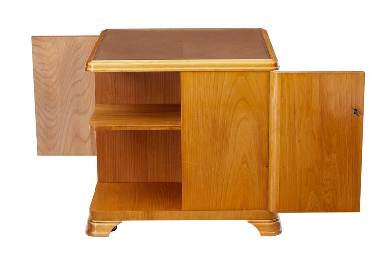 20th Century Later Art Deco Swedish Elm Occasional Table Cabinet For Sale