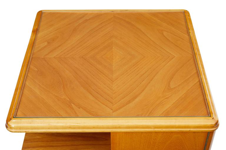 Later Art Deco Swedish Elm Occasional Table Cabinet For Sale 1