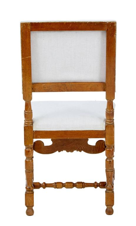 European Set of Ten Early 20th Century Carved Oak Dining Chairs For Sale