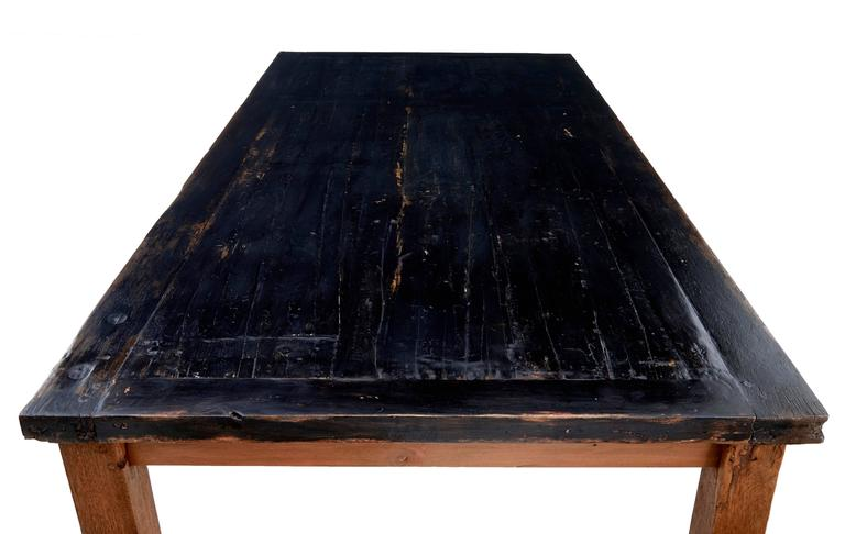 Large 19th Century Teak And Painted Dining Table For Sale