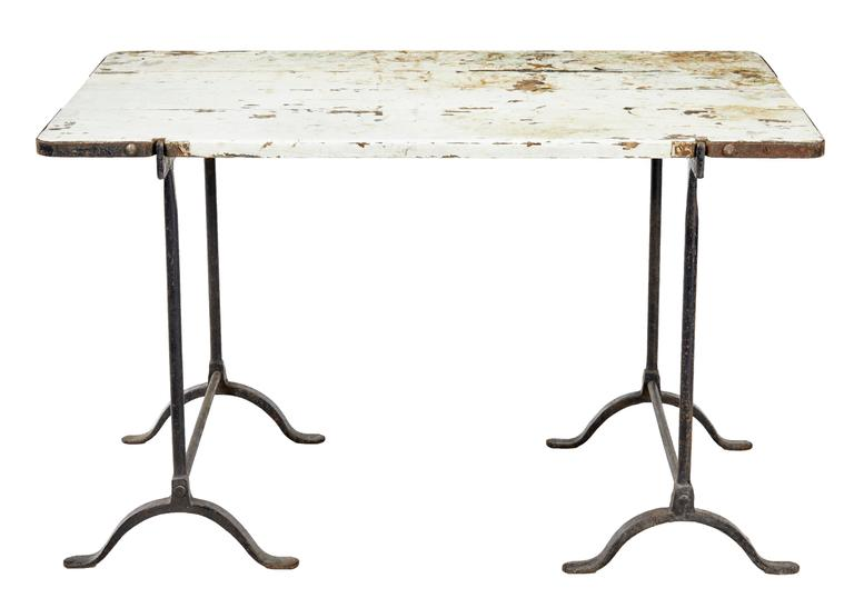 Rare local find in Suffolk, circa 1910. Rare being that it still has its original top and proper fittings. Cast iron bases with original painted pine top. Staining and paint losses to top.   Measures: Height 30