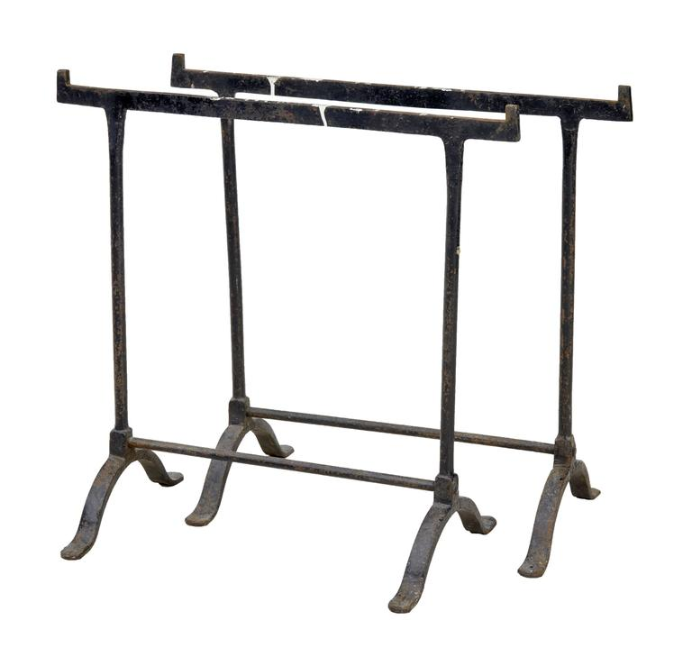Metalwork Early 20th Century Pine and Iron Trestle Work Table For Sale