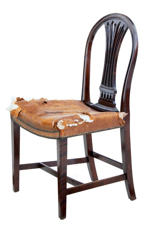 Elegant set of Swedish dining chairs, circa 1880.
