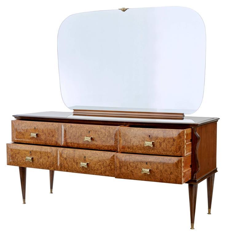 Art Nouveau Walnut 3 Piece Bedroom Suite: 20th Century Italian Walnut And Mahogany Bedroom Suite