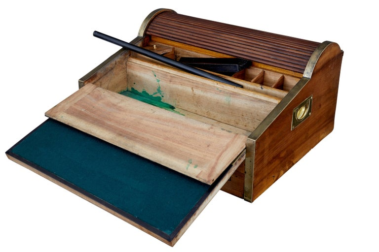 Chinese Export 19th Century Chinese Tambour Campaign Writing Lap Desk For Sale