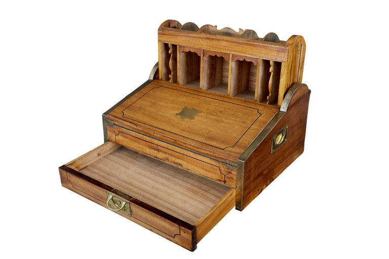 Woodwork 19th Century Chinese Tambour Campaign Writing Lap Desk For Sale