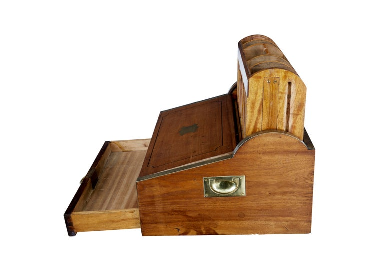 19th Century Chinese Tambour Campaign Writing Lap Desk In Good Condition For Sale In Debenham, Suffolk