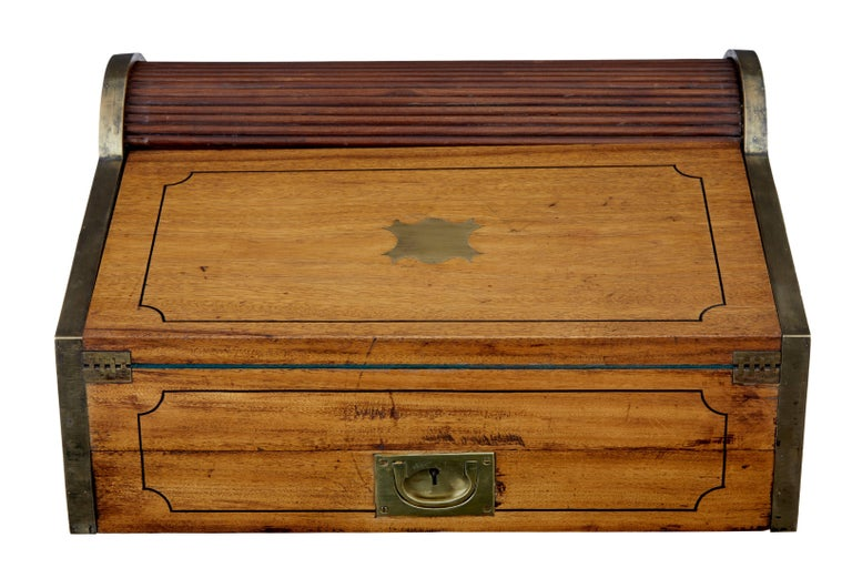 19th Century Chinese Tambour Campaign Writing Lap Desk For Sale 2