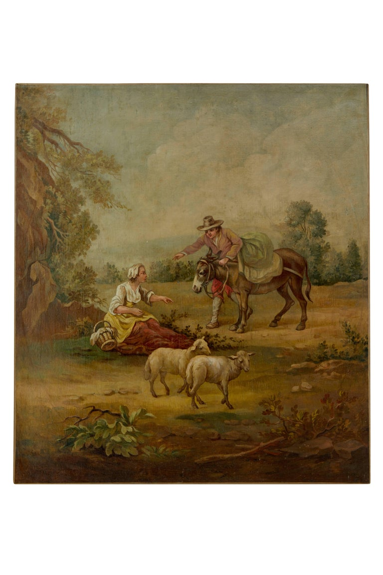 Rustic Pair of Rural Late 19th Century Oil on Canvas Paintings For Sale