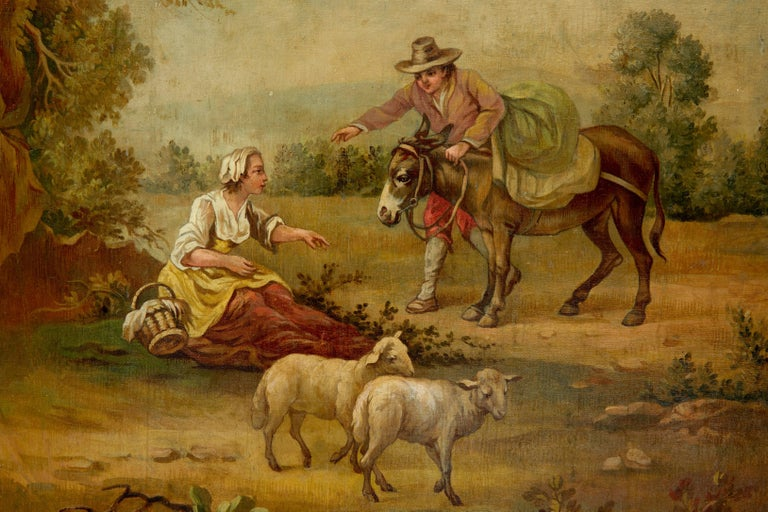 Spanish Pair of Rural Late 19th Century Oil on Canvas Paintings For Sale