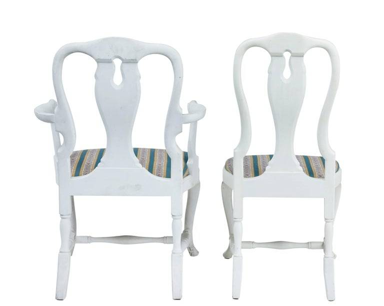 Painted Set of 14 1920s Queen Anne Design Dining Chairs