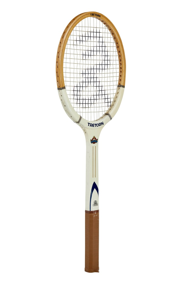 Novelty wooden frame tennis racket that must have been made for a special commission or promotional display.