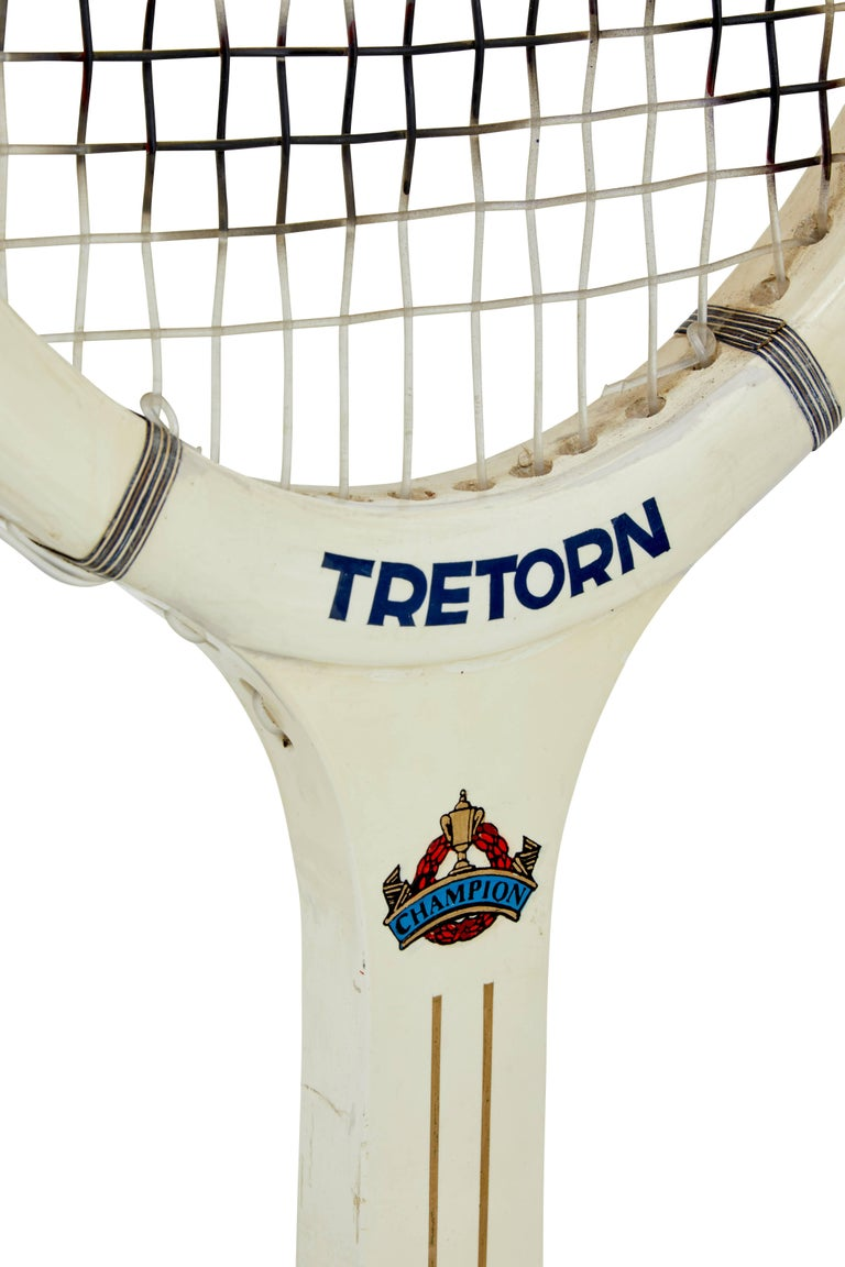 Scandinavian Modern Rare Oversized 1970s Wooden Tretorn Tennis Racket For Sale