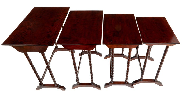 Swedish 1950s Set of Four Birch Nesting Tables For Sale