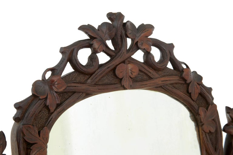 19th Century Carved Lindenwood Black Forest Vanity Mirror For Sale 1