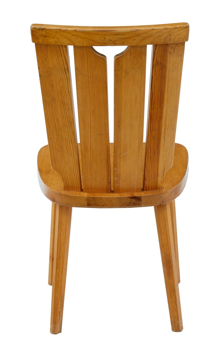 Rustic  Set of Six Scandinavian Pine Dining Chairs For Sale