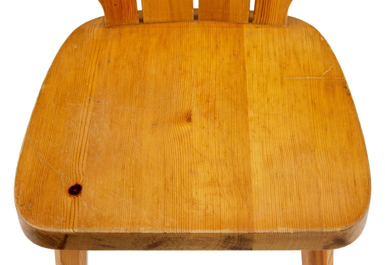 Swedish  Set of Six Scandinavian Pine Dining Chairs For Sale
