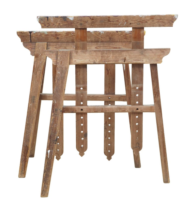 Fine pair of trestle table bases in used condition. We think these trestles would make a superb base to rest a top on. Ideal for a desk, dining table or for their original purpose. Can extend in height by 12