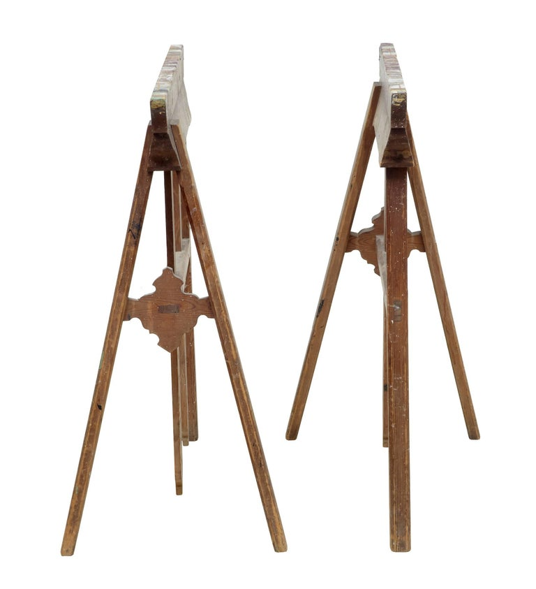 Industrial Quality Pair of Early 20th Century Trestle Table Bases For Sale
